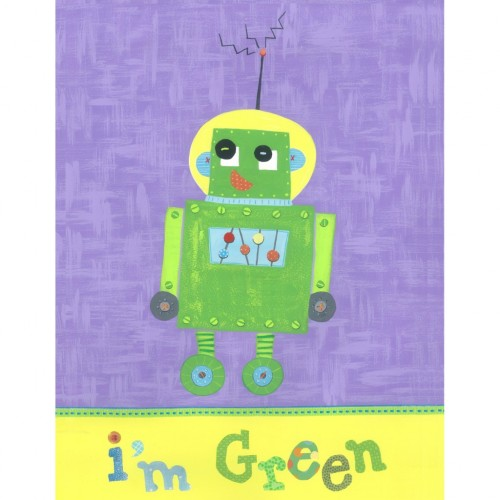 """I'm Green – """"Learn Your Colors"""" robot wall art"""